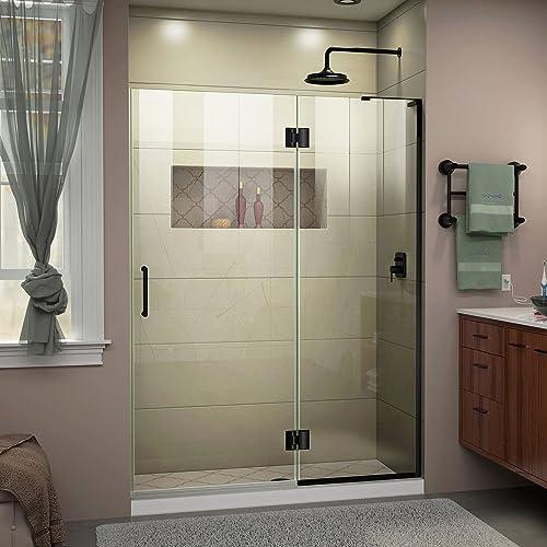 DreamLine Unidoor-X 52 in. W x 72 in. H Frameless Hinged Shower Door in Satin Black, D32872R-09