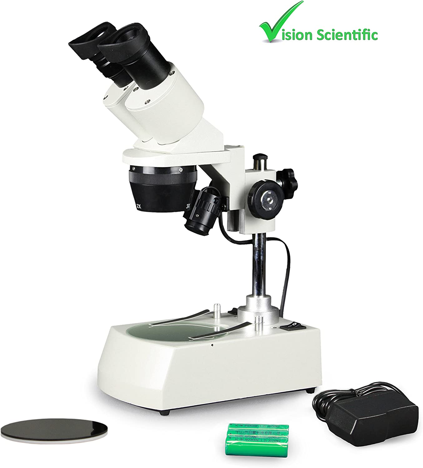 10X Magnification Top and Bottom LED Rechargeable Illumination 110V Parco Scientific Binocular Stereo Microscope 1X Objective 10X WF Eyepiece Post-Mounted Stand