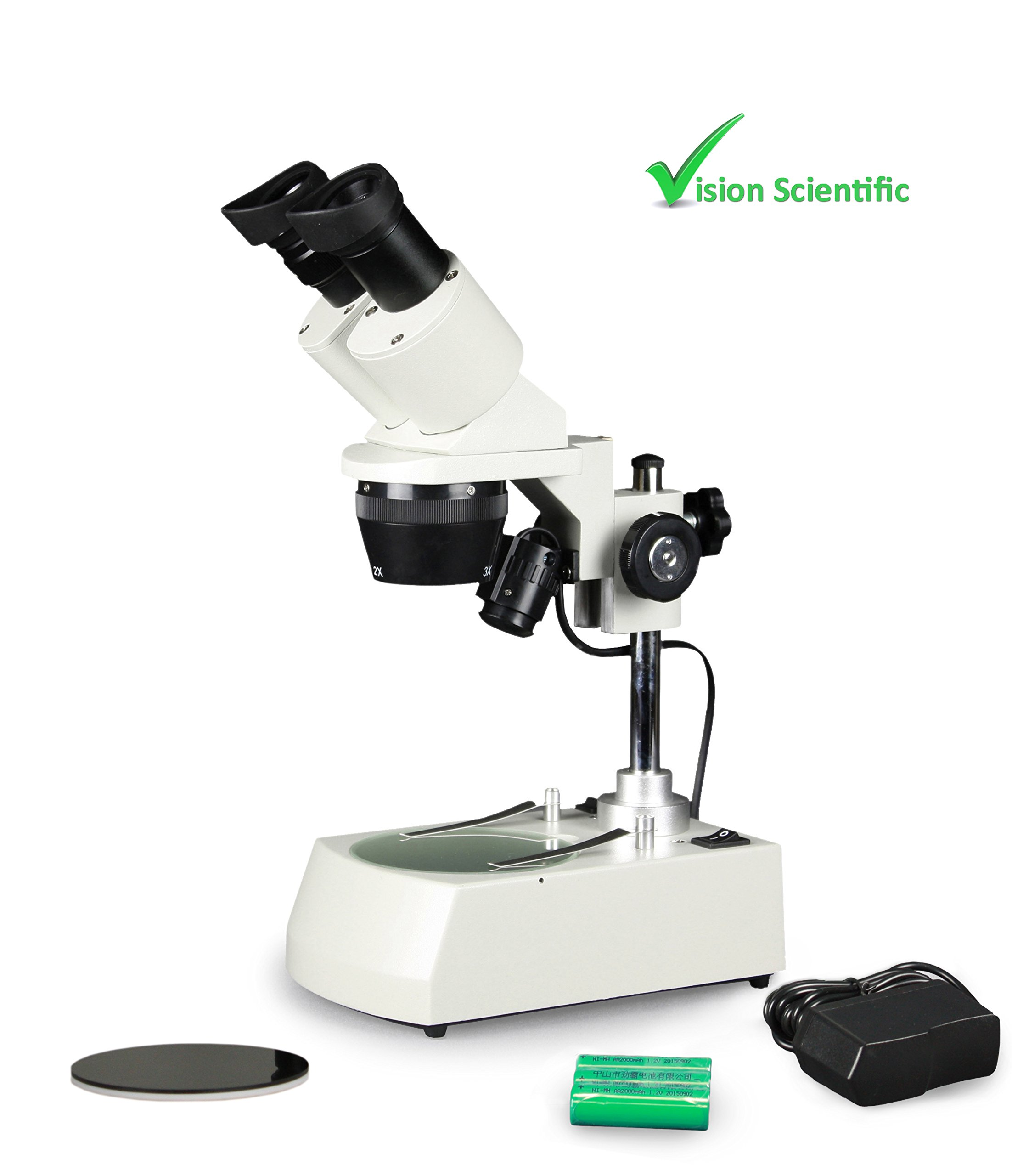 Vision Scientific VMS0002-RC-234 Tri-Power Binocular Stereo Microscope, 2x and 4x Objective, Paired 10x WF Eyepiece, 20x–40x Magnification, Top and Bottom LED, Cordless Rechargeable Battery