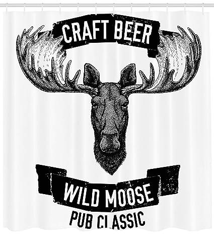 Ambesonne Man Cave Decor Shower Curtain Craft Beer Wild Moose Pub Classic Antelope Deer Head