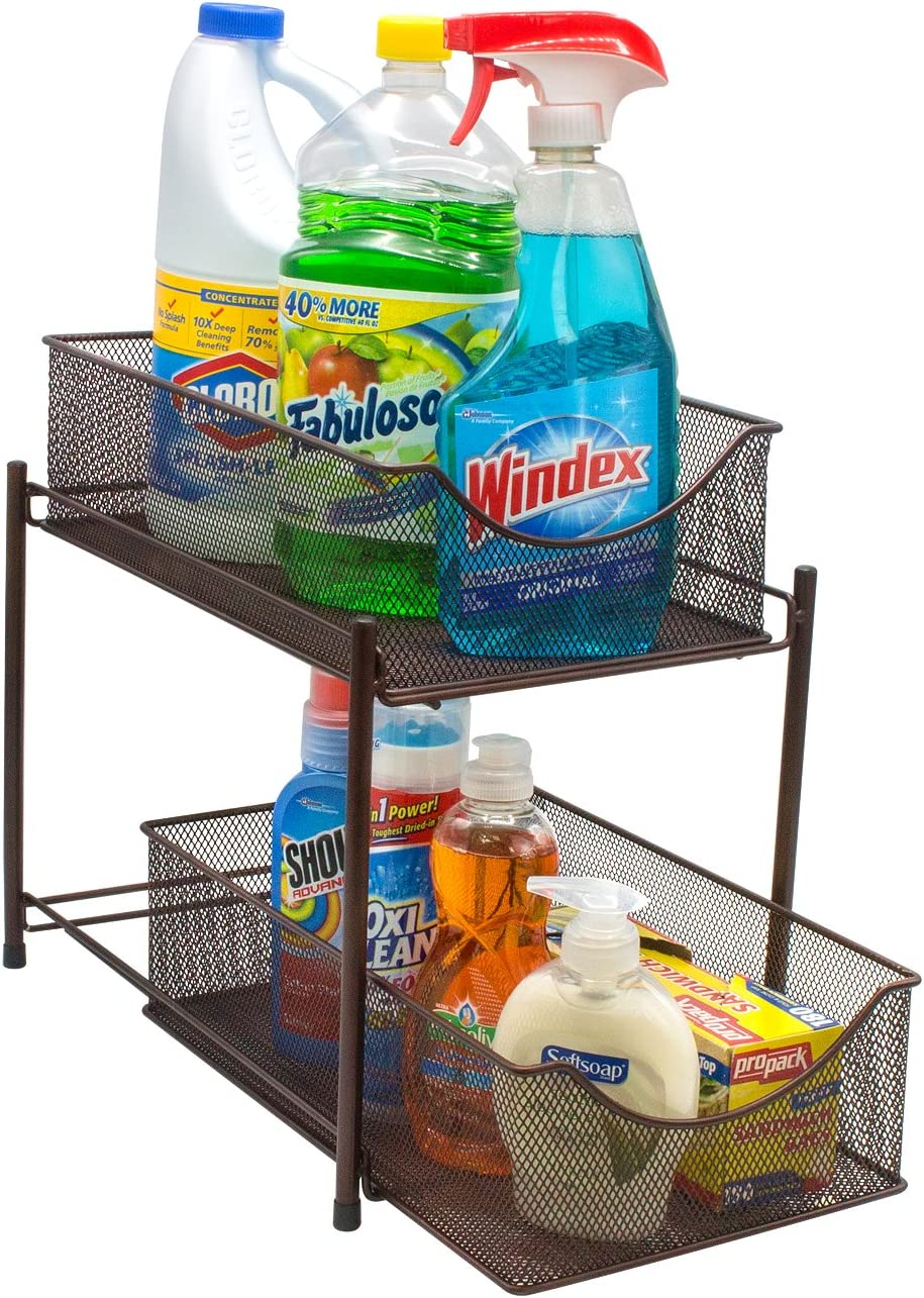 Sorbus 2 Tier Baskets with Mesh Sliding Drawers —Ideal Cabinet Countertop, Pantry, Under The Sink, and Desktop Organizer for Bathroom, Kitchen, Office, etc, Brown