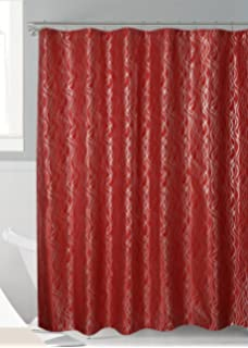 Luxurious Metalic Moroccan Trellis Shower Curtain Set With 12 Hooks 72x72 Red