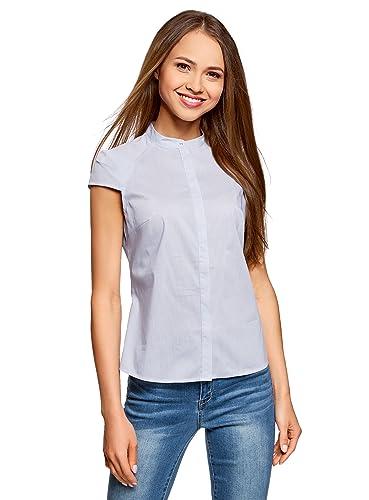 oodji Ultra Mujer Camisa de Manga Corta de Algodón