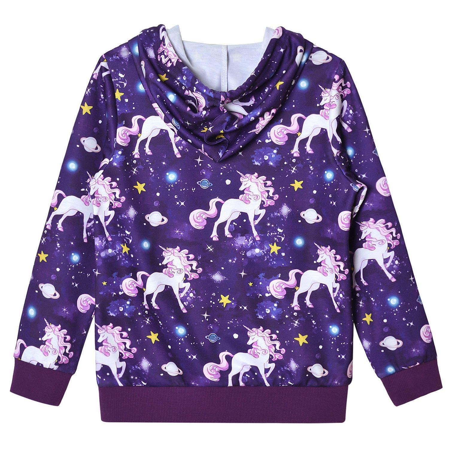 Jxstar Hoodie for Girls Unicorn Cat Sweatshirt Pullover Shirts Clothes for Kids
