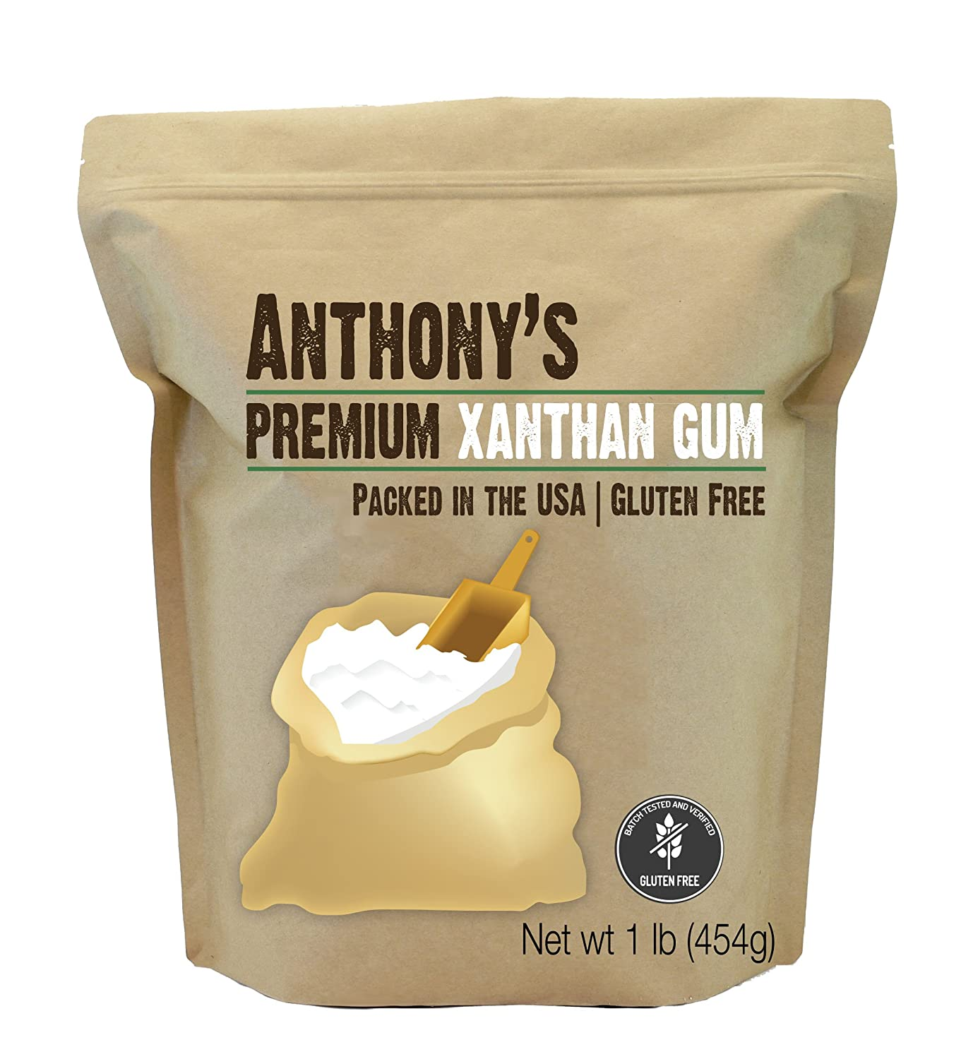 Anthony's Xanthan Gum, 1 lb, Batch Tested Gluten Free, Keto Friendly, Product of USA