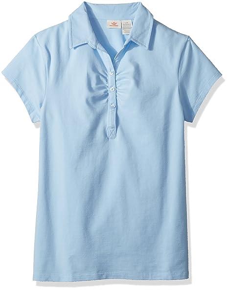 bb4e646b8a8 Dockers Big Girls  Uniform Short Sleeve Stretch Jersey Polo with Shirring