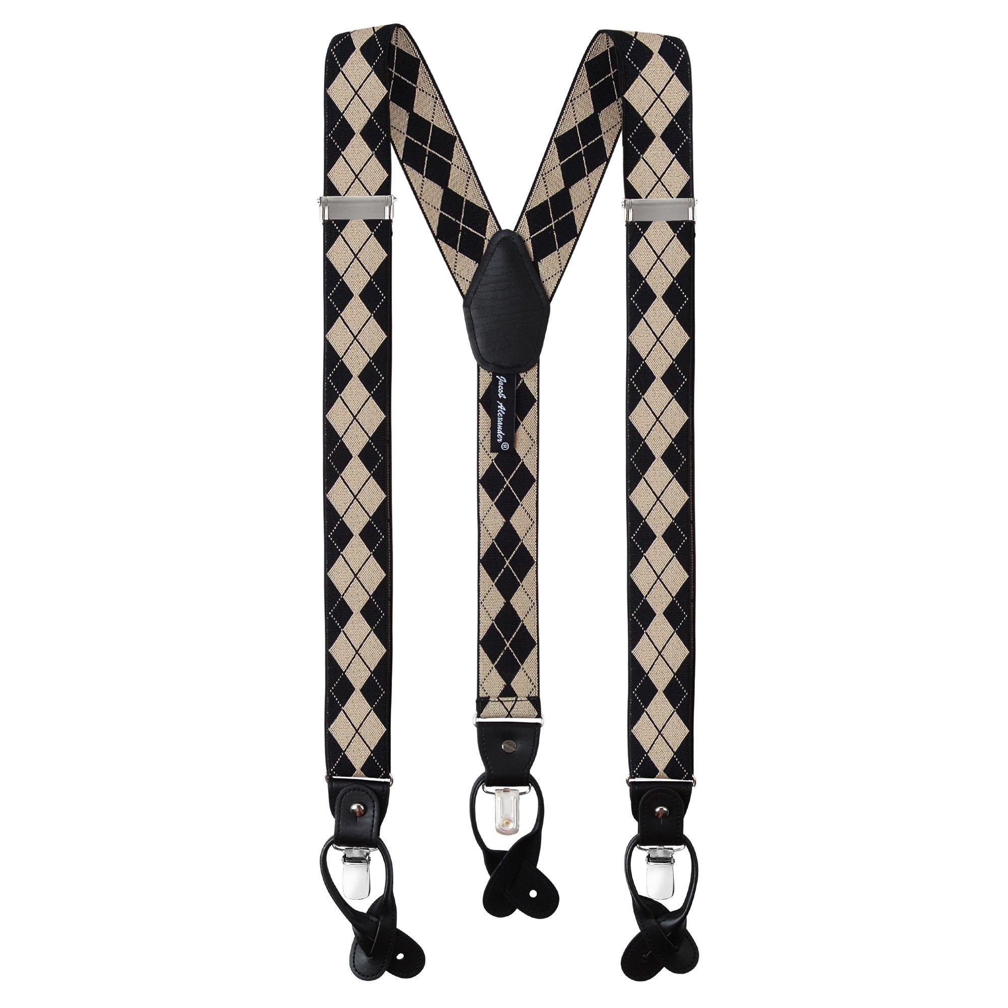 Jacob Alexander Men's Argyle Y-Back Suspenders Braces Convertible Leather Ends Clips - Black Tan