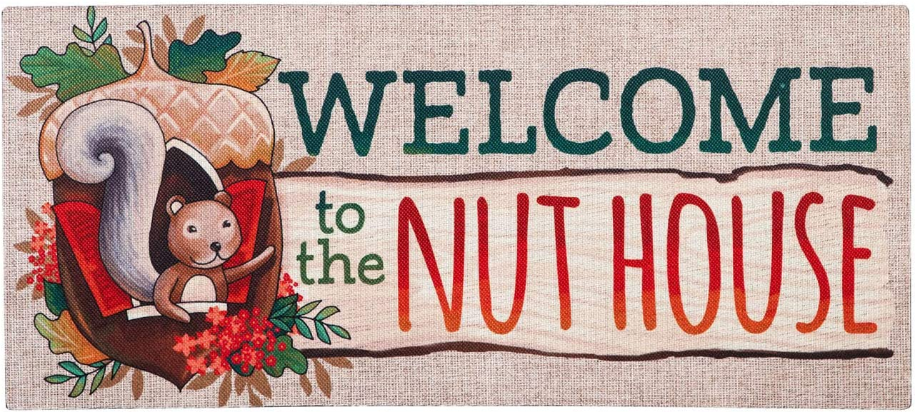 Evergreen Flag Beautiful Autumn Welcome to The Nut House Sassafras Switch Doormat - 22 x 1 x 10 Inches Fade and Weather Resistant Outdoor Floor Mat for Homes, Yards and Gardens