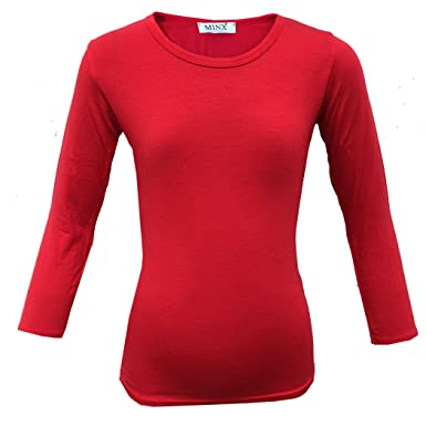 Kids Long Sleeve Plain Basic Top Girls T-Shirt Tops Crew Uniform Teen Age 2-14 Y Clothes, Shoes & Accessories
