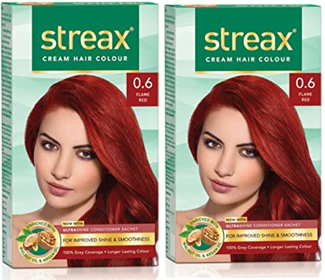 21fa243415f Image Unavailable. Image not available for. Colour  Streax Hair Color (Cream  Flame Red) - Pack of 2