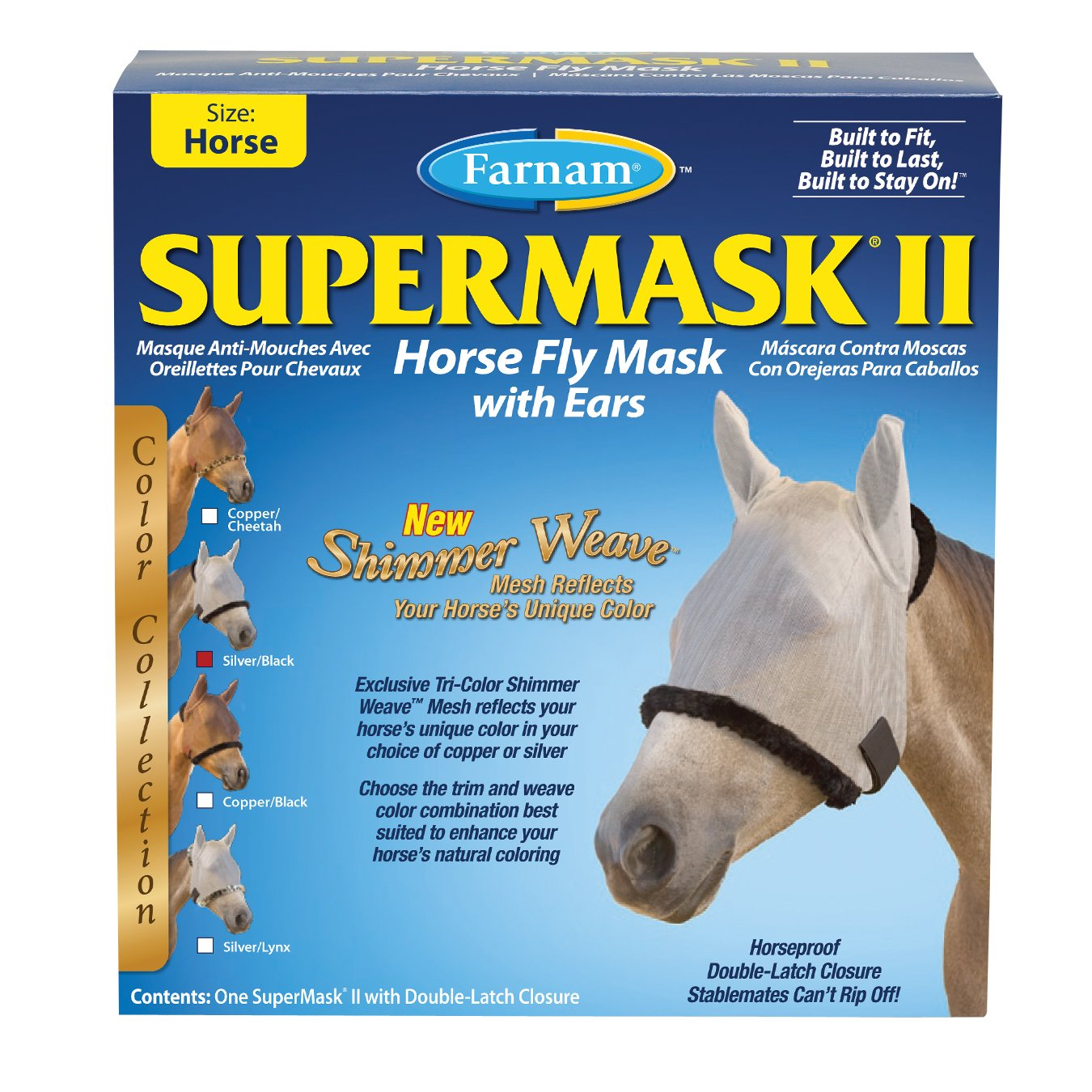 Farnam SuperMask II Shimmer Weave Horse Fly Mask with Ears, Horse size, Silver Mesh with Black Trim by Farnam (Image #1)