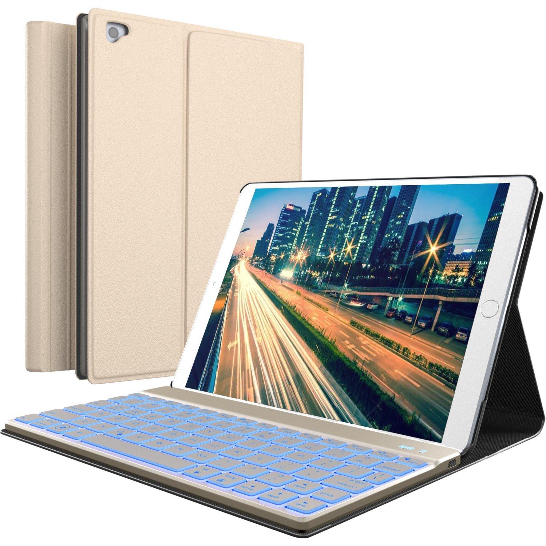 iPad Keyboard Case for New 2018 iPad, 2017 iPad, iPad Pro 9.7, iPad Air 1 and 2 – BT Backlit Detachable Quiet Keyboard – Slim Leather Folio Cover – 7 Color Backlight – Apple Tablet (9.7, Gold) YEKBEE Folio Keyboard