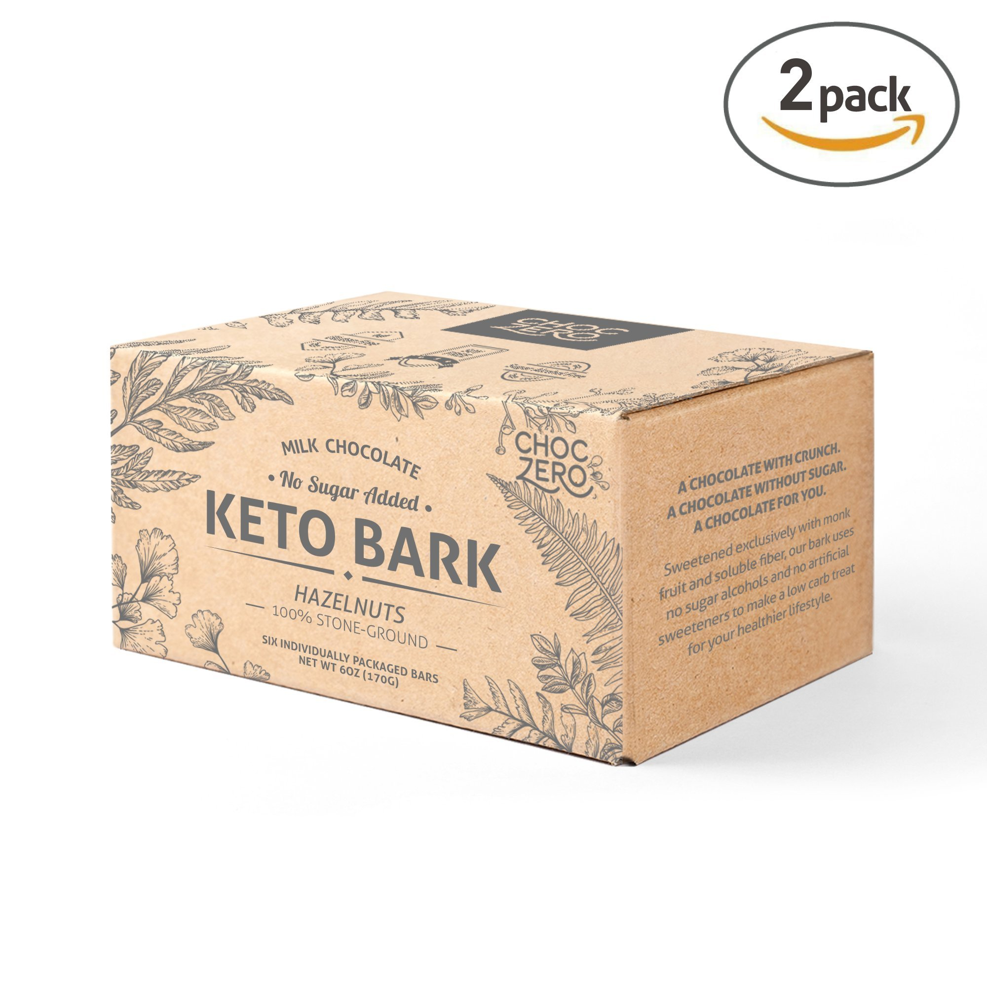 ChocZero's Keto Bark, Milk Chocolate Hazelnuts, 100% Stone-Ground, No Added Sugar, Low Carb, No Sugar Alcohols, Non-GMO (2 boxes, 6 bars/each)