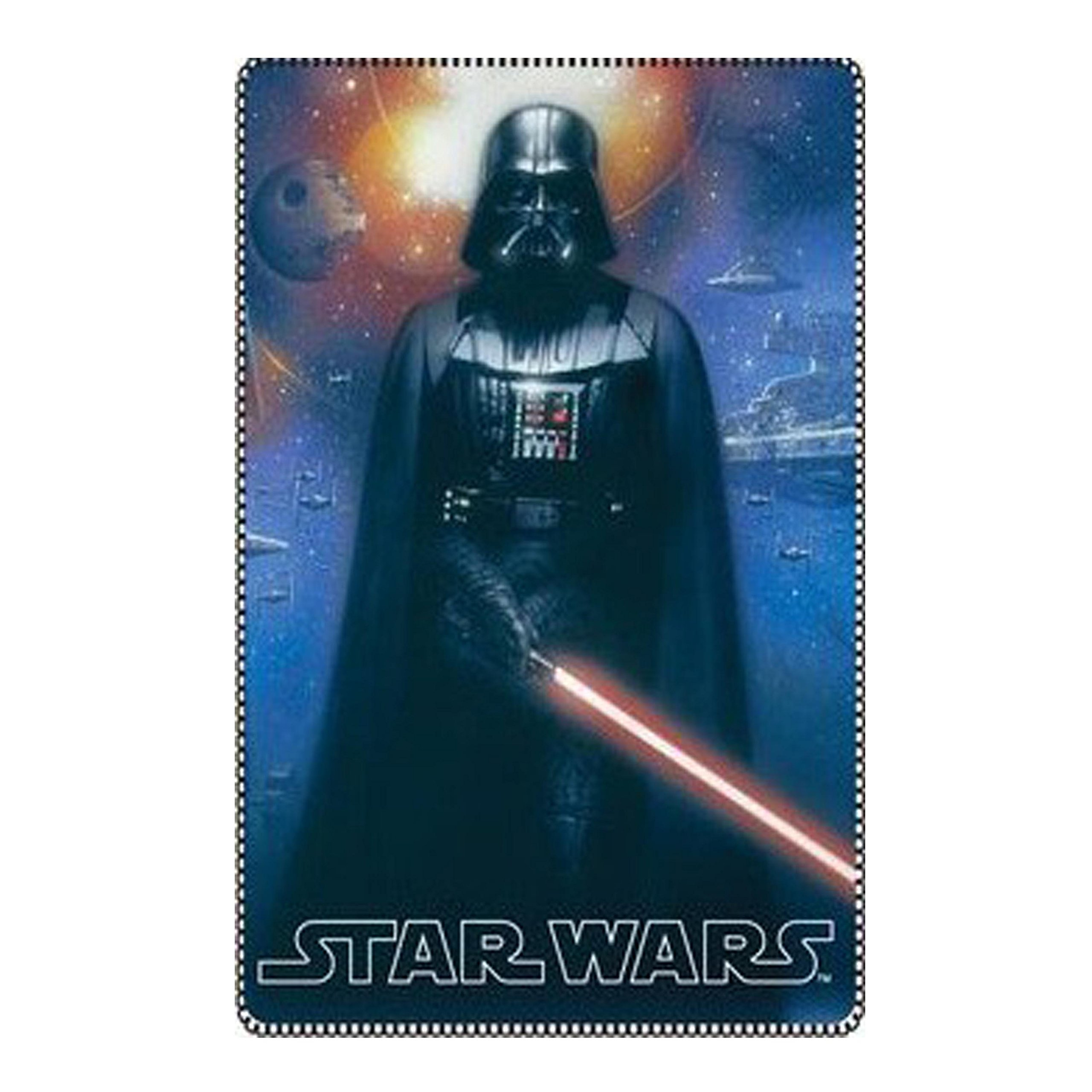 Star Wars Kids Fleece Blanket 40 x 59 inch with R2D2 and Darth Vader (Blue)