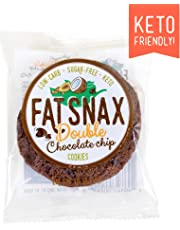 Fat Snax Cookies - Low Carb, Keto, and Sugar Free (Double Chocolate Chip, 12-Pack (24 Cookies))