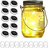 Upgraded Solar Mason Jar Lid Lights, 10 Pack 30 LED Fairy Star Firefly String Lids Lights Including (10 pcs Hangers),for Wedd