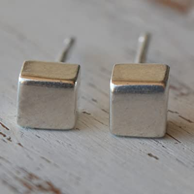 Cube Studs Sterling Silver Post 4 mm