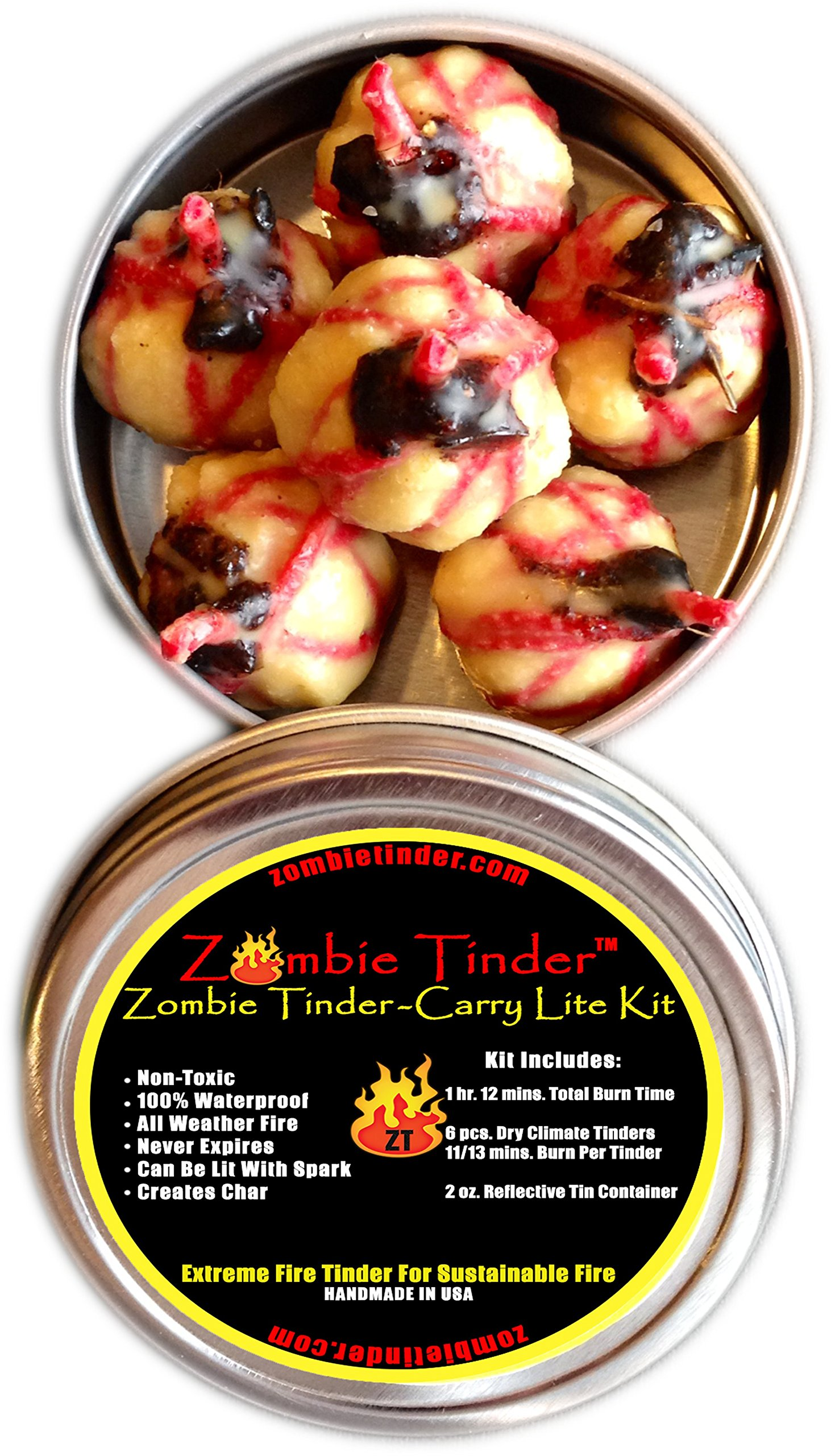 Zombie Tinder Carry Lite Kit - Extreme Fire Starter & Tinder - Over 72 Minutes of Total Burn Time - Easy Light Wick - Spark Light (3 pack) by Zombie Tinder