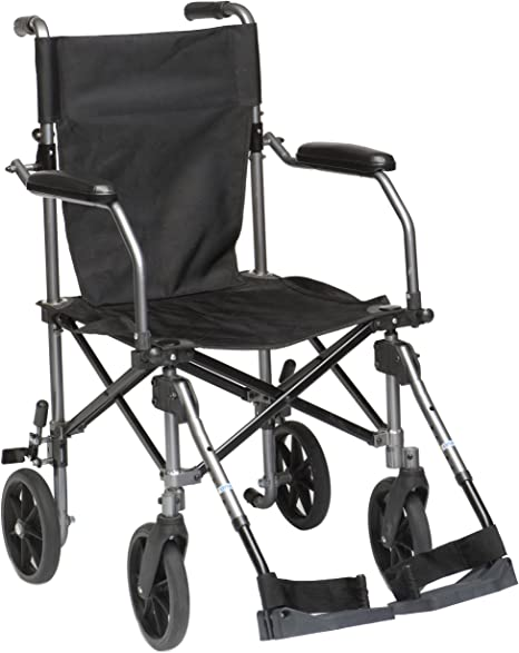 Drive Medical TC005 Travelite Sedia a rotelle trasportabile, in alluminio, 46 cm