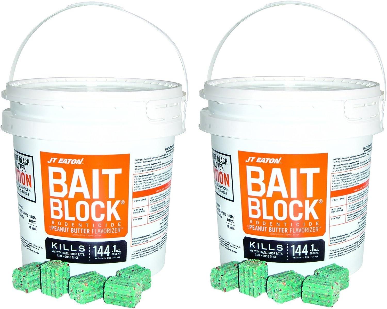 JT Eaton 709-PN Bait Block Rodenticide Anticoagulant Bait, Peanut Butter Flavor, For Mice and Rats (Pail of 144) (2 Pails of 144)