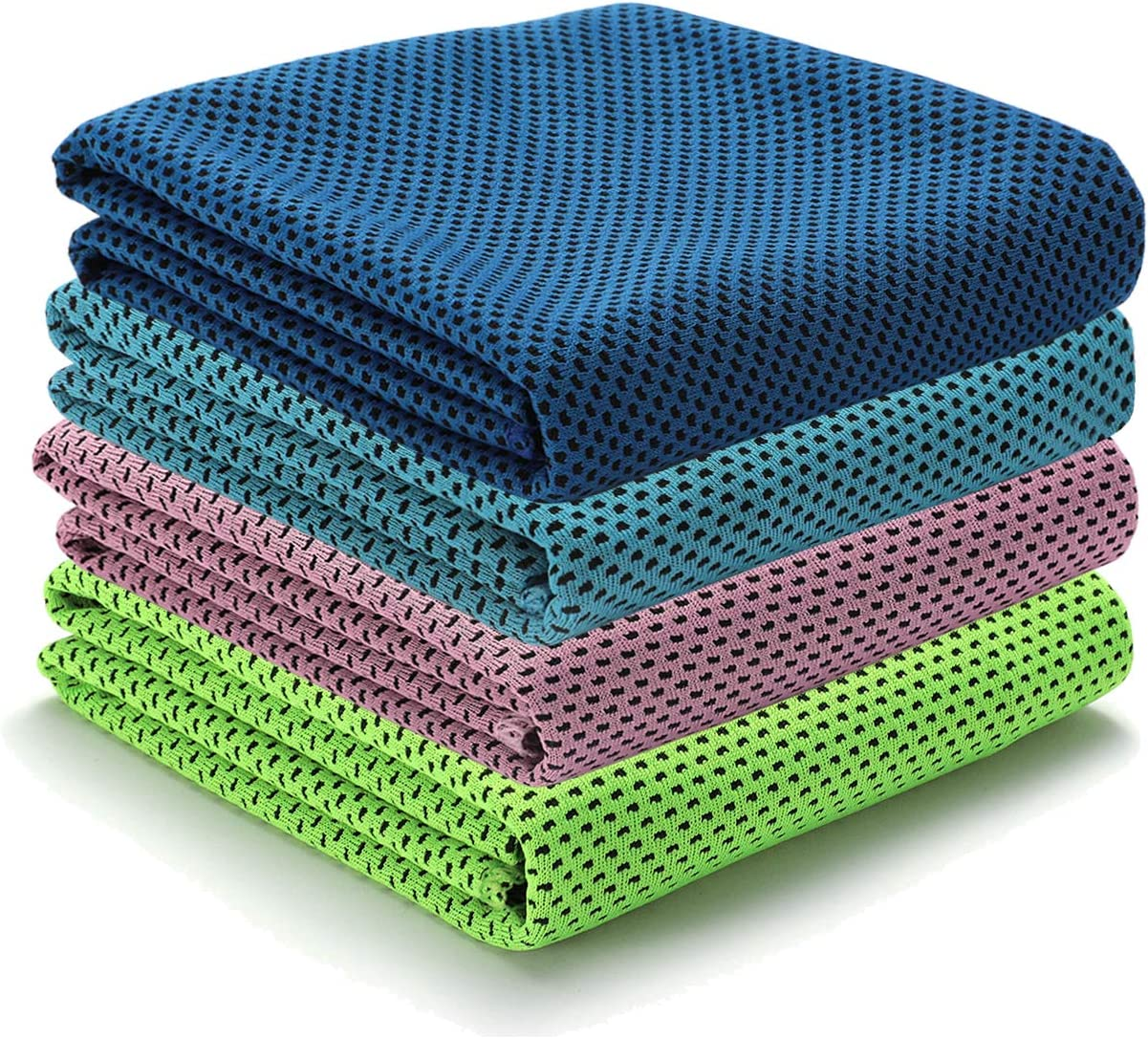 """BUENOD 4 Pack Cooling Towels (37""""x11""""), Ice Towel for Exercising, Lightweight and Breathable Towel for Sport, Yoga, Gym, Workout, Camping, Fitness, Running, Indoor & Outdoor Activities"""
