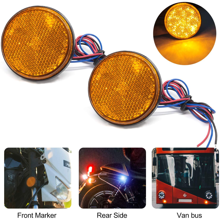 LED Reflectors Round Tail Rear Lights Brake Stop Lights Indicator 12V 24SMD 5W Waterproof for Universal Auto Vehicle Truck Trailer RV ATV Motorbike. Blue