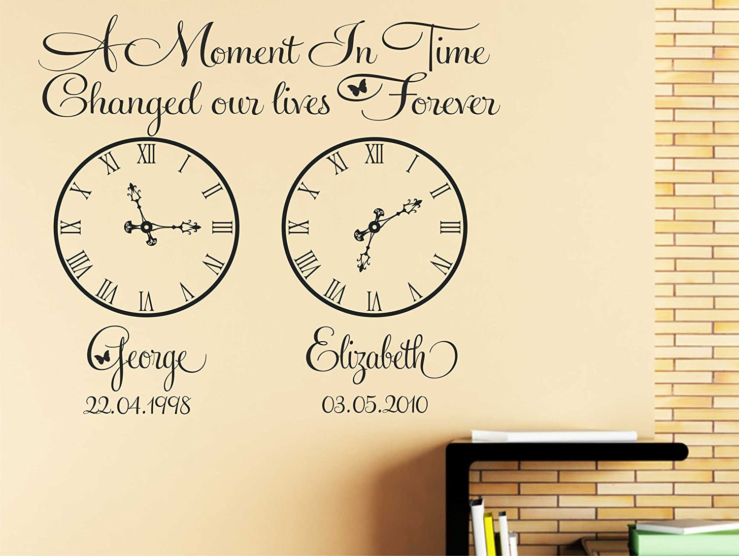 Vinyl Sticker For Box Frame ONE MOMENT IN TIME clock face personalise time//date