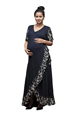 8faa09a48ee5d GRAVIDANZA9 Women Cotton Material Jersey (Lycra) Silver Foil Queen Wrap Maternity  Dress Pregnancy Maxi Dress in Black: Amazon.in: Clothing & Accessories