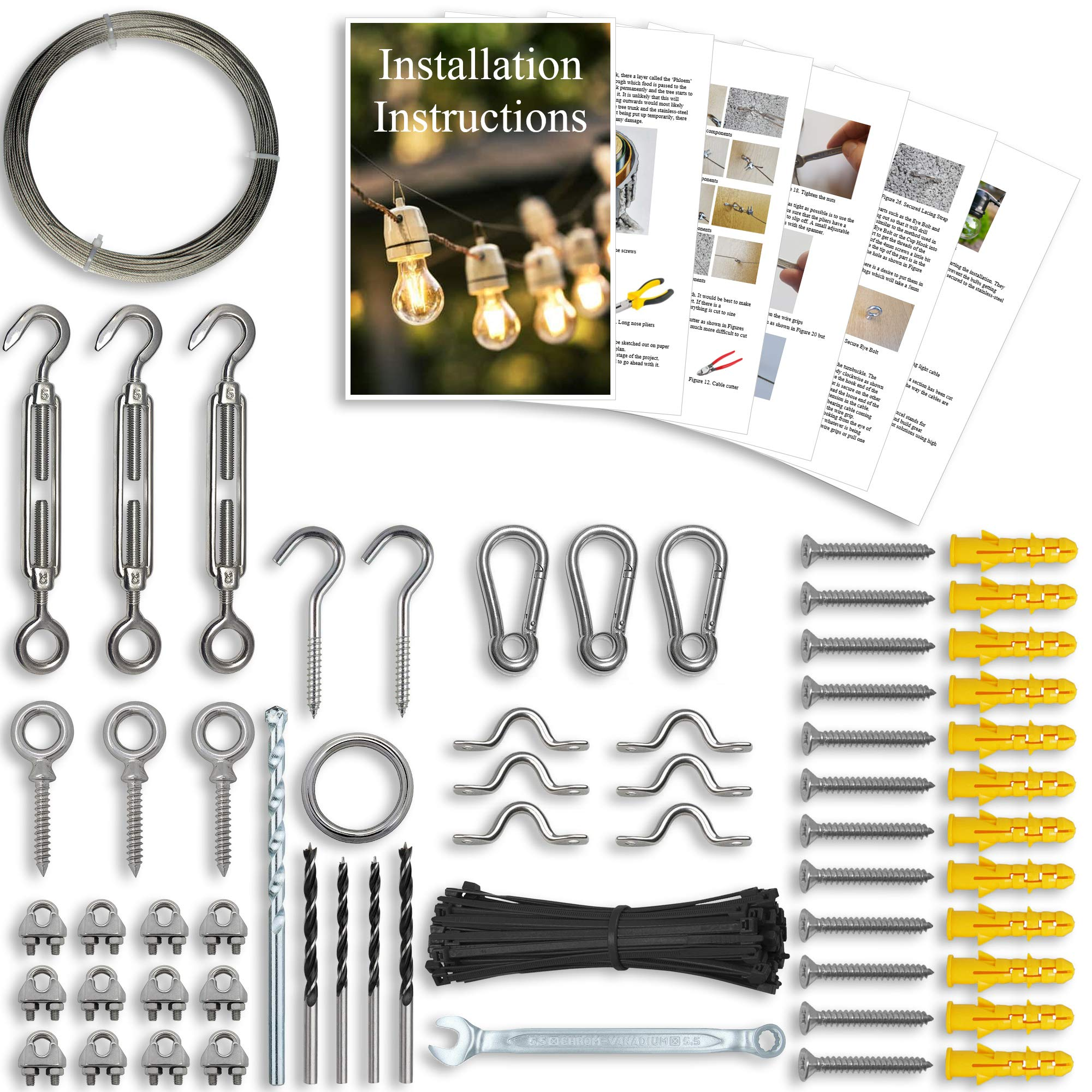 String Lights Hanging Kit - String Light Suspension Kit, Installation Kit for Outdoor Lighting, LED, Globe, Café, Patio Lights Etc. 164ft Guide Wire Cable and Parts Made from Stainless Steel 316