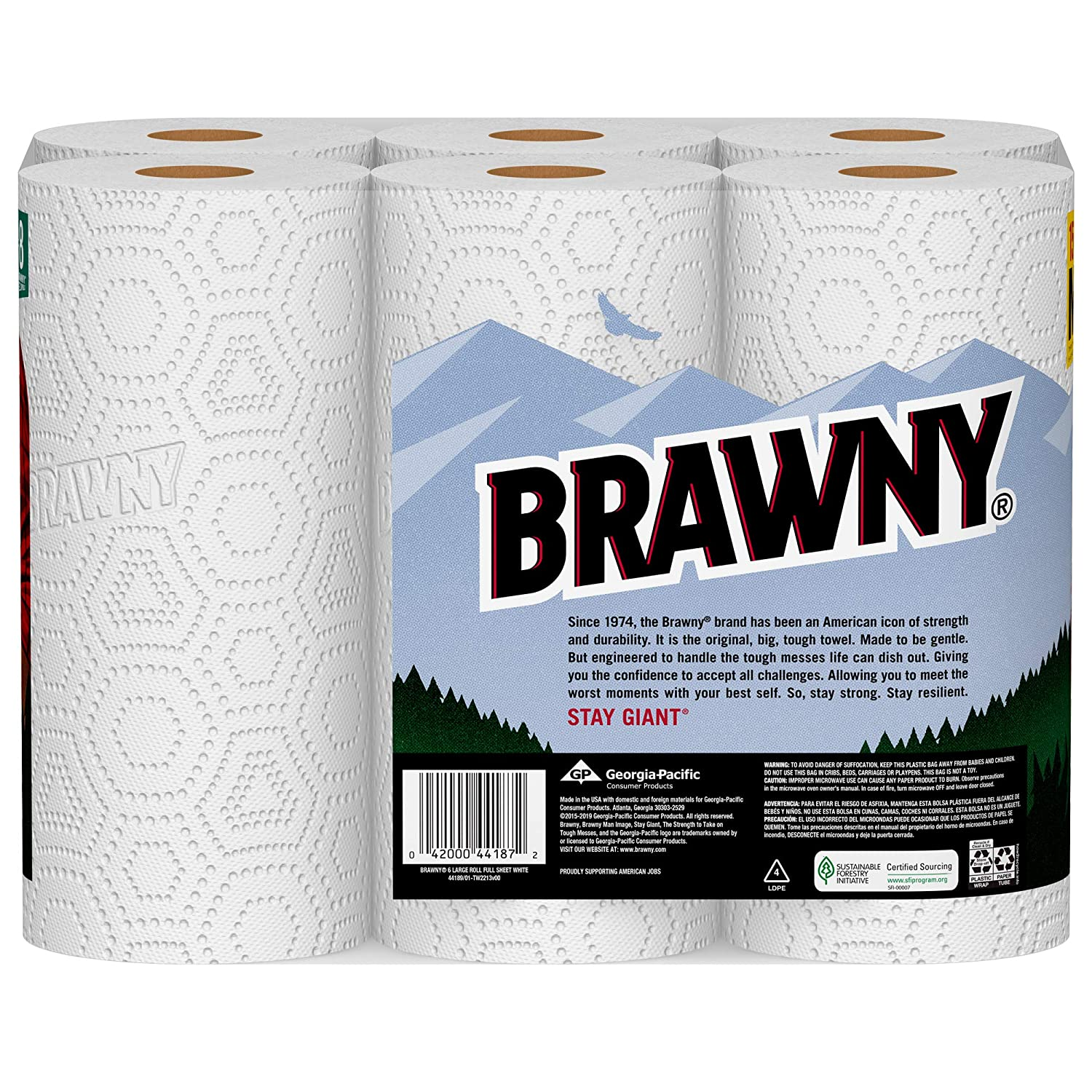 Brawny Paper Towels, 6 Large Rolls, Full Sheet, 6=8 Regular Rolls