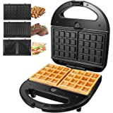 OSTBA Sandwich Maker 3-in-1 Waffle Iron, 750W Panini Press Grill with 3 Detachable Non-stick Plates, LED Indicator…