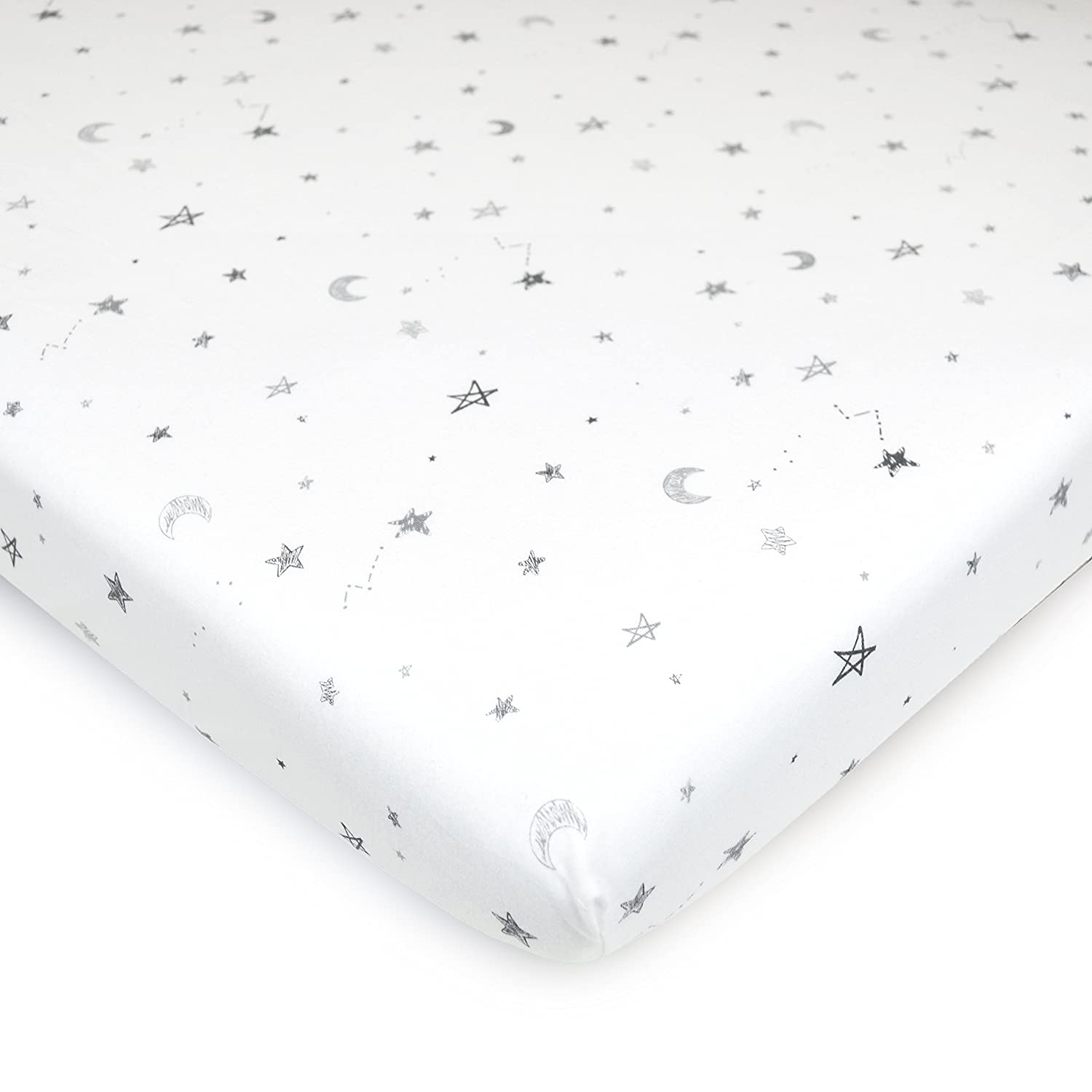 Amazon Com American Baby Company 100 Natural Cotton Value Jersey Knit Fitted Bassinet Sheet Grey Star And Moon Soft Breathable For Boys And Girls Baby