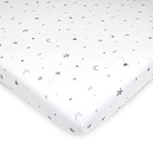 TL Care 100% Natural Cotton Jersey Knit 18 x 36 Cradle Sheet - Fitted, Gray Stars & Moon, Soft Breathable, for Boys & Girls