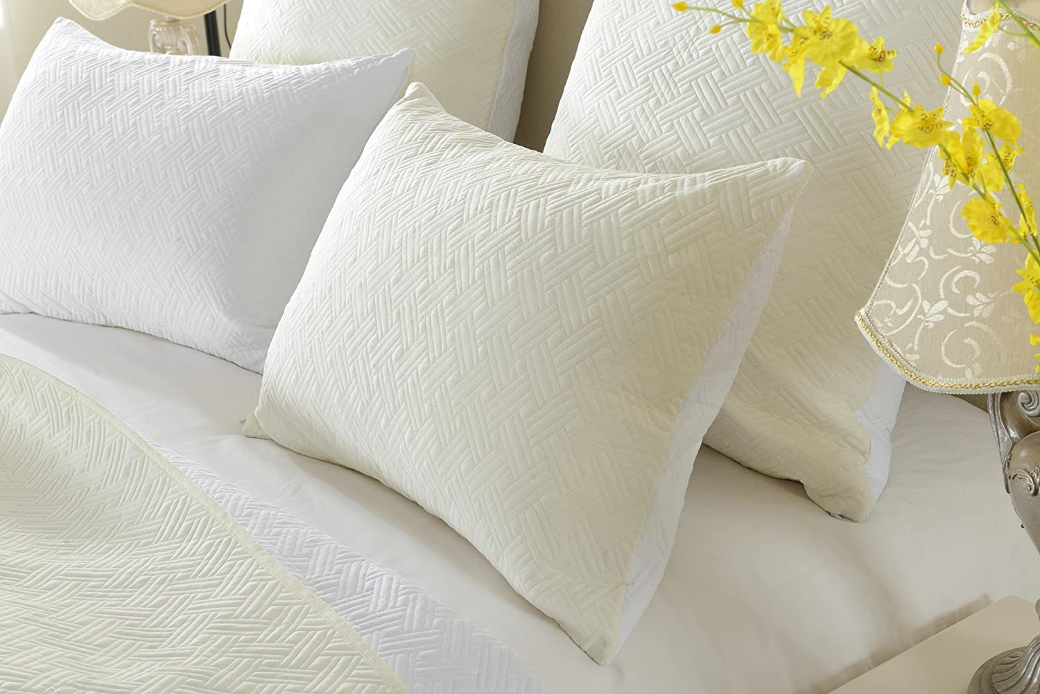 (Twin/Twin XL, Ivory/White) - 3pc Reversible Ivory/White Diamond Quilted Coverlet Set- Style 1002 - Twin/Twin XL - Cherry Hill Collection B0196V87I0 Ivory/White Twin/Twin XL