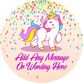 UNICORN PERSONALISED BIRTHDAY PARTY SWEET CONE GIFT BAG SEAL STICKER LABEL