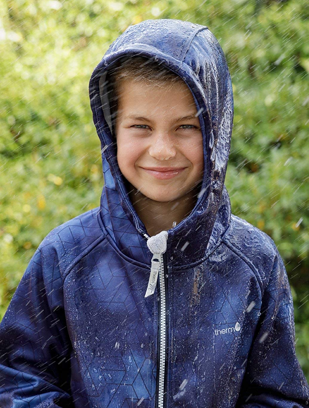 Therm Boys Rain Jacket Toddler Kids Youth Lightweight Recycled Plastic Raincoat Fleece Lined Softshell