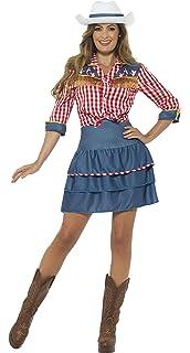Smiffys-24648S Disfraz de muñeca de Rodeo, con Falda, Camisa y Gorro, Color Azul, S-EU Tamaño 36-38 (SmiffyS 24648S): Amazon.es: Juguetes y juegos