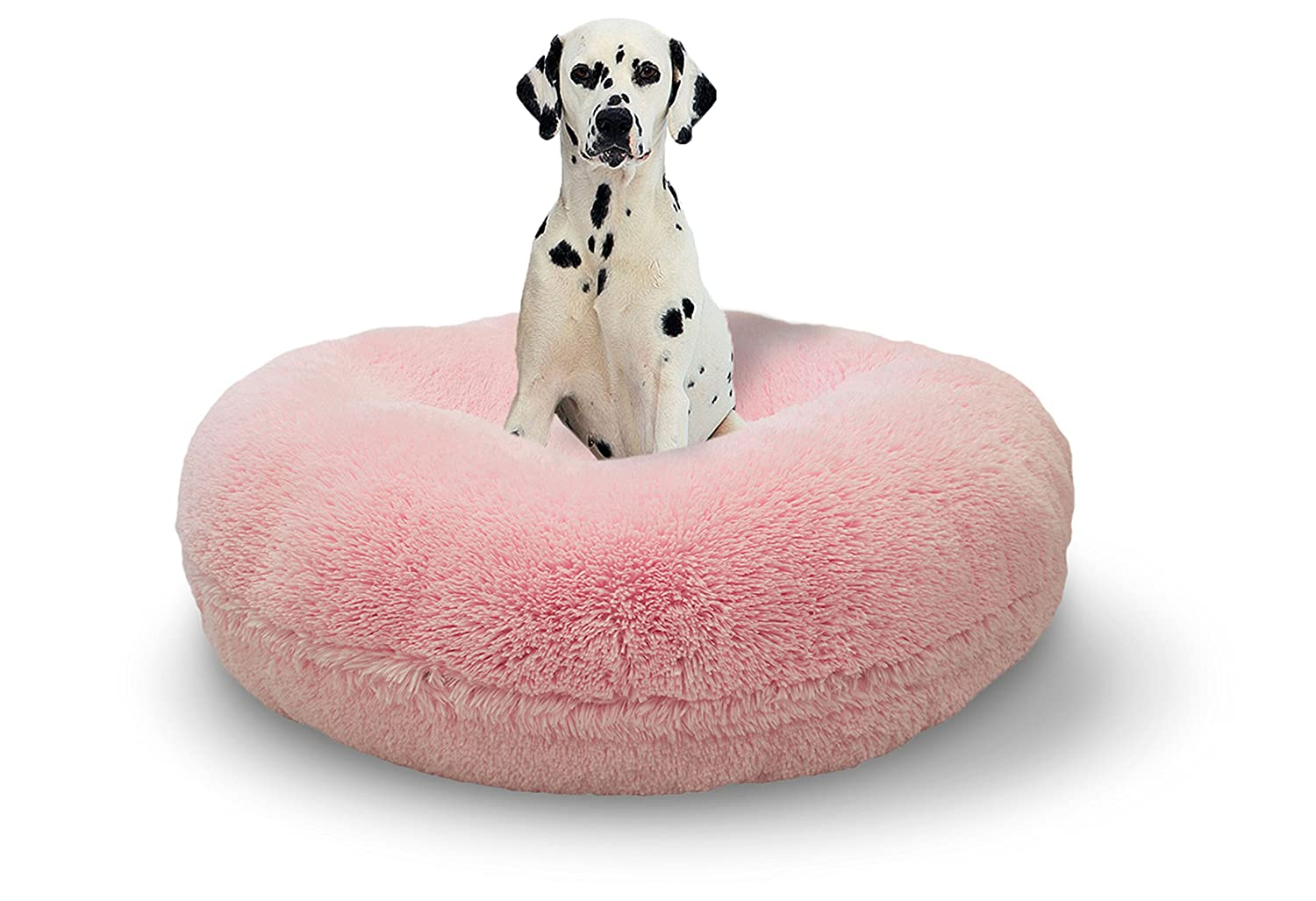 BESSIE AND BARNIE Signature Bubble Gum Luxury Shag Extra Plush Faux Fur Bagel Pet Dog Bed Multiple Sizes