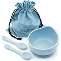 Silicone Suction Bowl Set with 2 Silicone Spoons and Storage Bag for Baby & Toddler. Gift Idea for Boys & Girls. High Chair Feeding Tableware. (Sky Blue - Full Silicone Spoons)
