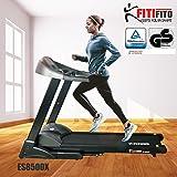 Fitifito ES8500X (Fitifito 8500)  Profi Laufband 7PS 22km/h mit LCD Bildschirm, Dämpfungssystem, 5 Trainingsmodulen inkl. HRC - Klappbar, Schwarz