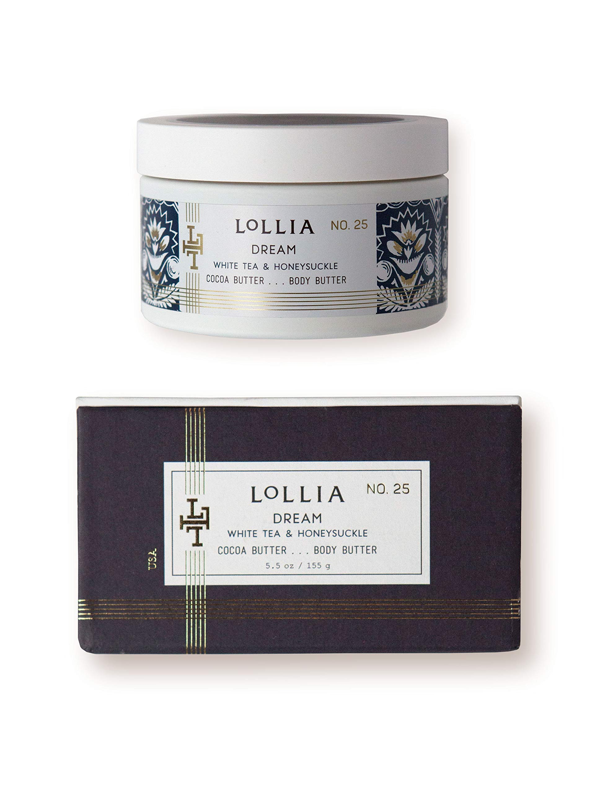 Lollia Dream Whipped Body Butter | Margot Elena's White Tea & Honeysuckle Body Cream, 5.5 oz