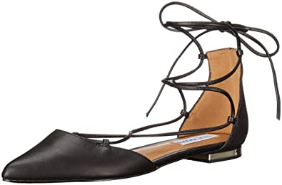 Steve Madden Women's Sunshine Pointed Toe Flat, Black Leather, ...