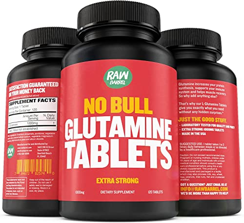 Glutamine Tablets – Pure, Non GMO, with Natural Ingredients, Soy and Caffeine Free – 120 L-Glutamine Pills at 1000mg – Amino Acid Supplement – by Raw Barrel