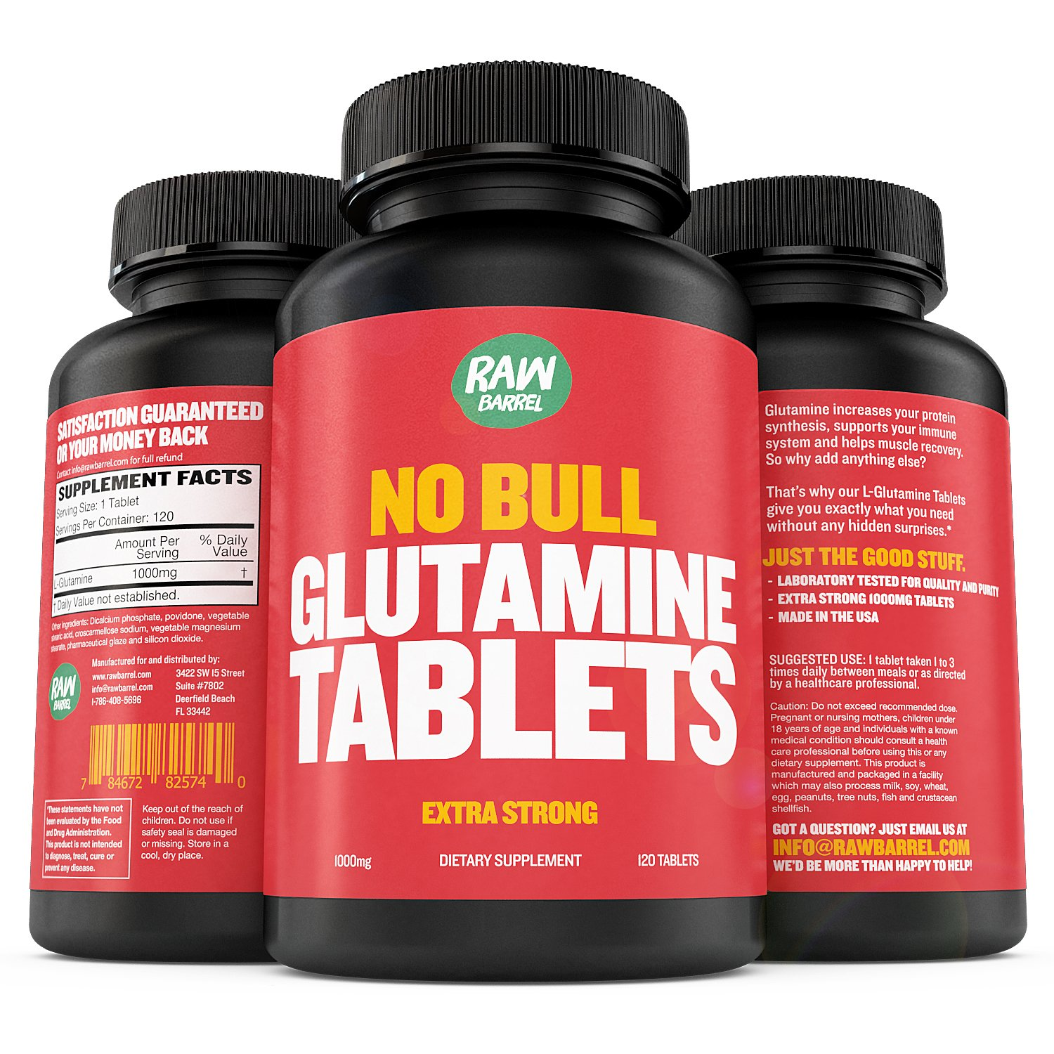 Raw Barrel's - Pure L Glutamine Tablets - 120 Pills at 1000mg - See Results OR Your Money Back - with *Free* Digital Guide by Raw Barrel