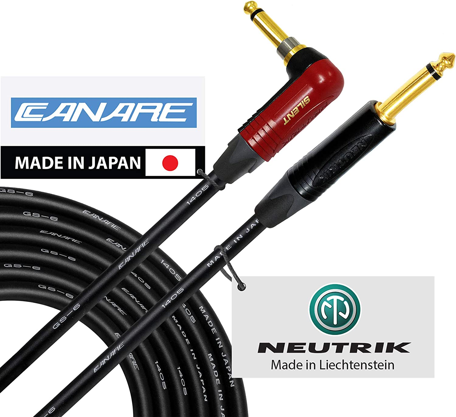 25 Foot – Canare GS-6 - Neutrik Gold Plated Silent Plug - Guitar Bass Instrument Cable - Straight to Angled 1/4 Inch Plugs - CUSTOM MADE By WORLDS BEST CABLES