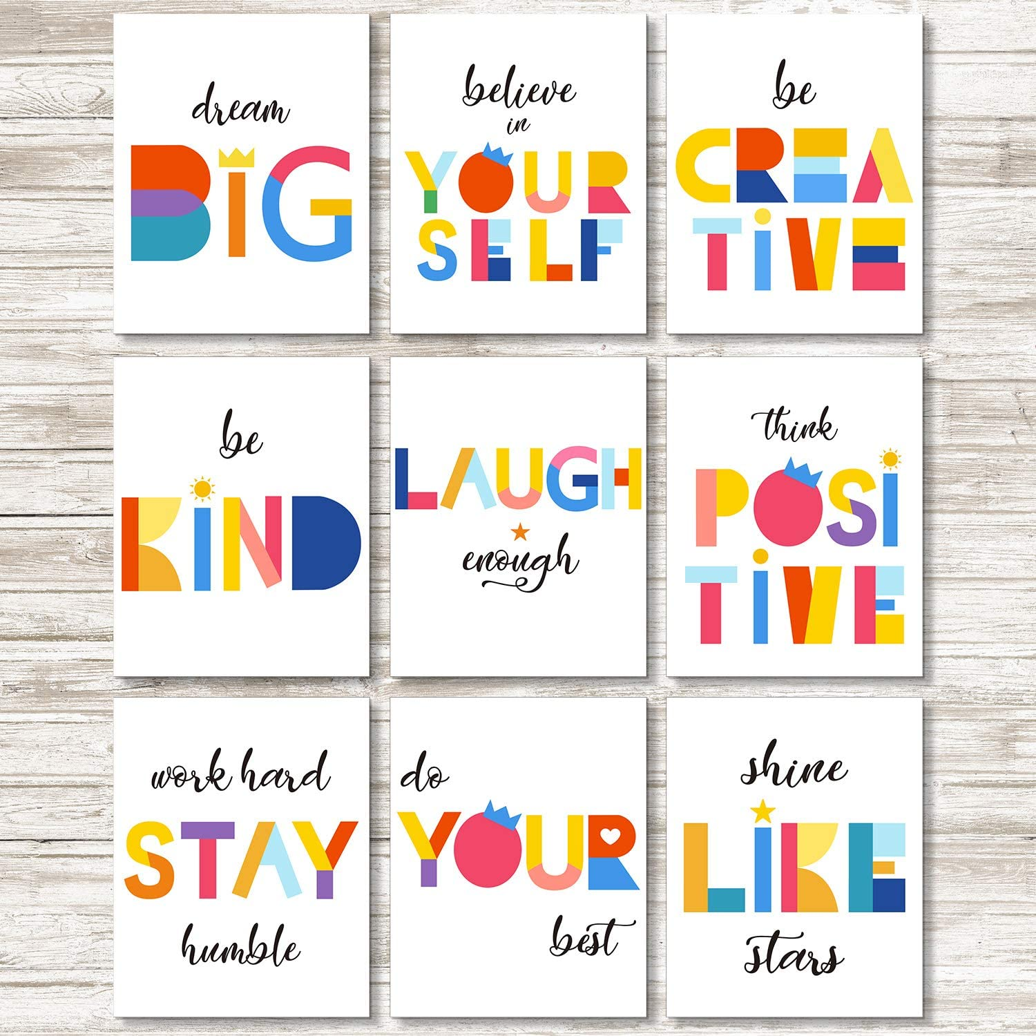 Set Of 9 Watercolor Words Inspirational Quote Art Print Motivational Quote Phrases Inspiring Wall Poster Art Painting For Nursery Or Kids Room Modern Decoration Unframed Posters Prints