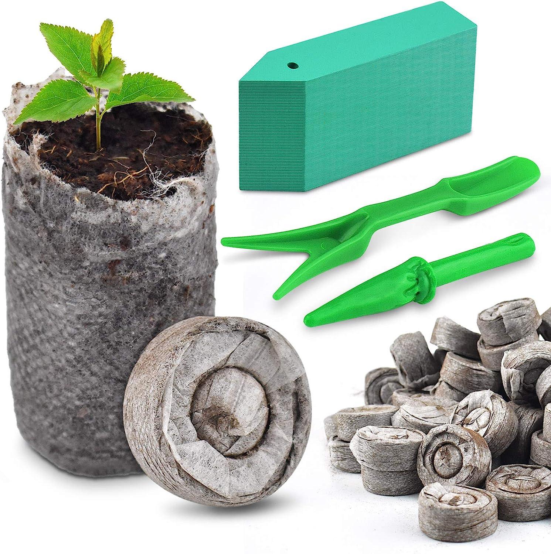 PACETAP 100 PCS (30mm) Peat Pellet Garden Soil Plant Seed Starters, Plugs Pellets Seedling Soil Block,Seed Fertilizer Nutrient Block,Indoor Seed Starter Kit,Compressed Peat Block to Grow Herb Flower