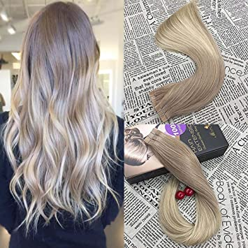 Amazon moresoo 14 inch tape on human hair extensions moresoo 14 inch tape on human hair extensions balayage colored hair ash blonde to bleach blonde pmusecretfo Image collections