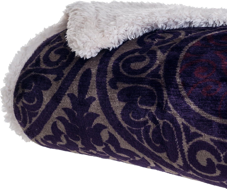 Bedford Home Printed Coral Soft Fleece Sherpa Throw Blanket, Purple
