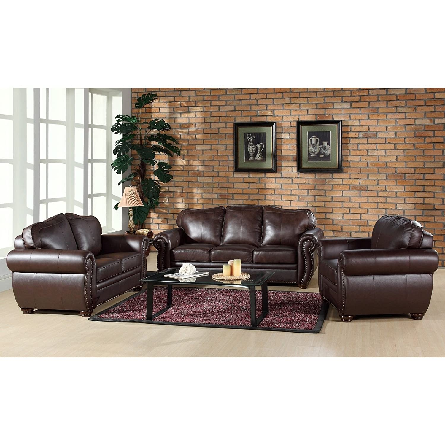Amazon.com: Metro Shop Abbyson Living Richfield Premium Top Grain Leather  Sofa, Loveseat, And Armchair: Kitchen U0026 Dining